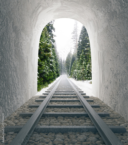 Papiers peints Tunnel Railway tunnel with landscape view