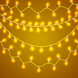 Colorful Glowing Christmas Lights.Vector backdrop for new Year. Holiday Illustration, luminous electric garland, shiny light bulbs and wire decoration