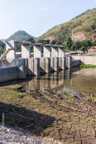 Small dam in river, Dike in asia