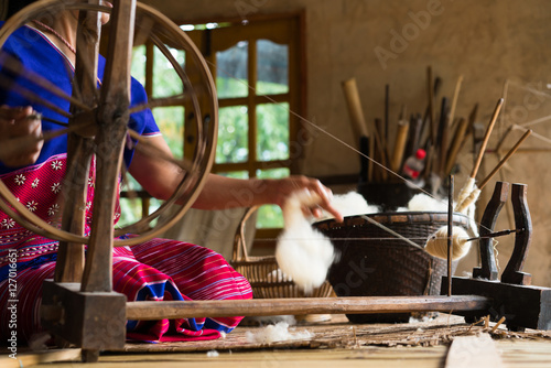 Fotografie, Obraz  Traditional loom for wool clothes. Soft Focus