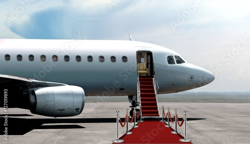 Airplane departure entrance with red carpet Canvas