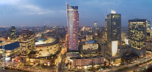 Fototapety, obrazy: Warsaw city with skyscrapers at night