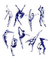 Ballet Poses Set. Dance. Watercolor Illustration On White Background.