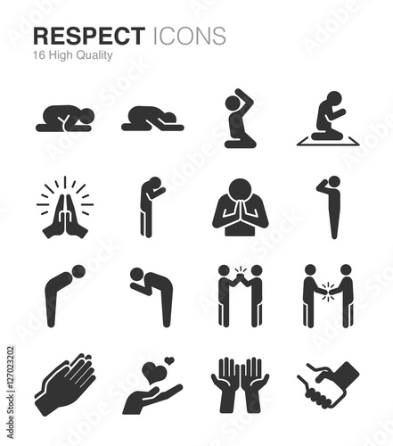 Tablou Canvas Respect, reverence and veneration icons