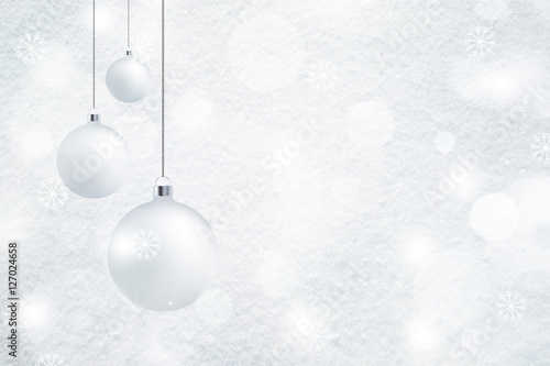 Bright Fresh Snow Texture Background With Illustrated White Christmas Bulbs Set Xmas And New Year Holiday Greeting Card Place For Text