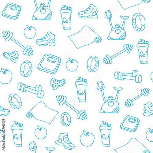 recznie-rysowane-niebieski-sprzet-fitness