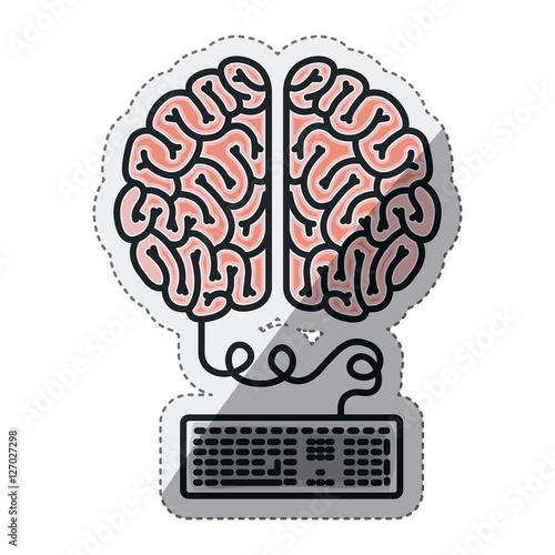 Brain and keyboard draw icon  Big idea creativity