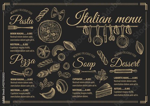 Fotografía  Menu italian restaurant, food template placemat.