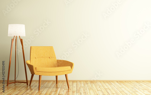 Fototapeta Interior of room with armchair and floor lamp 3d rendering