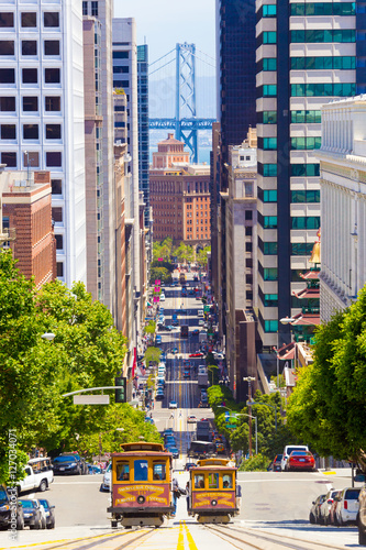 Foto op Aluminium San Francisco Two Cable Car California St San Francisco Downtown