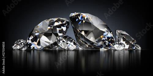 Fototapeta Diamonds on a Black Background obraz