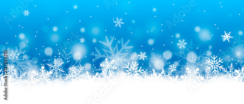 Photo  Christmas banner with snowflakes