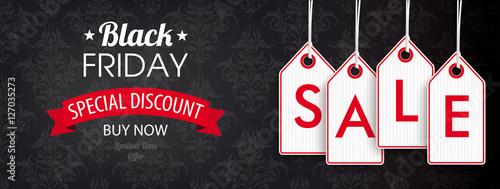 Fototapeta Black Friday Header Ornaments Price Stickers Sale obraz