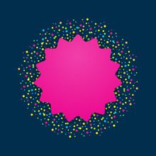 Blank Pink Card With Multicoloured Dots On Dark Blue Background