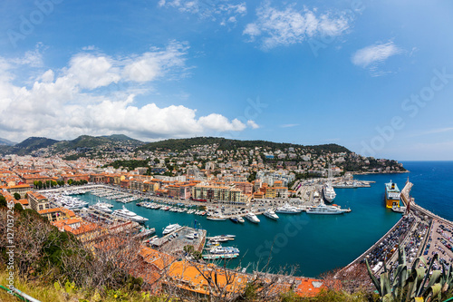 Staande foto Nice top view of port with yachts in Nice, French Riviera, France