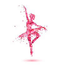 Ballerina Silhouette Of Pink R...