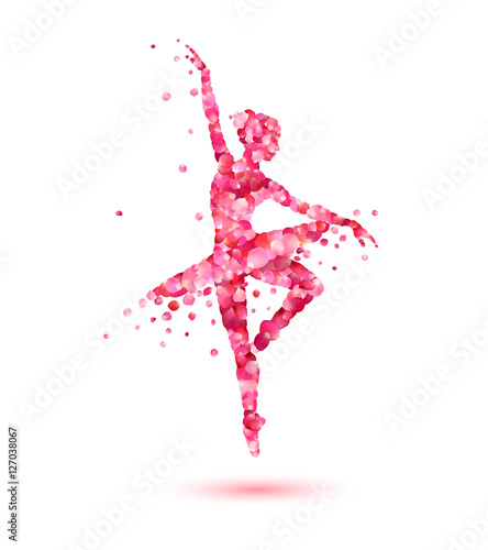 Fotografie, Tablou  ballerina silhouette of pink rose petals