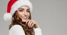 Beautiful Female Model Wear Santa Hat