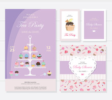 Cute Templates With Cupcakes Stand And Sweets In Pastel Colors. Cards And Posters. For Bridal, Baby Shower, Birthday.