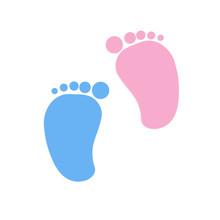 Baby Footprints Twin Baby Girl And Boy Vector