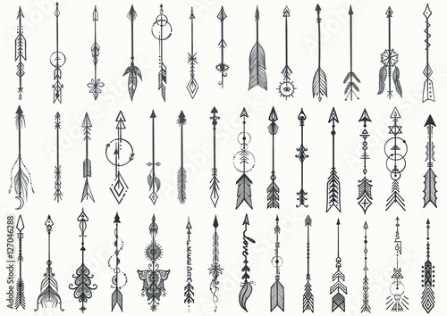 Photo  Big set of Hand drawn boho arrows for design element