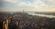 Manhattan, New York City, USA - view from the Observation Deck of the Empire State Building facing south towards Lower Manhattan with One World Trade Center at sunset - Timelapse