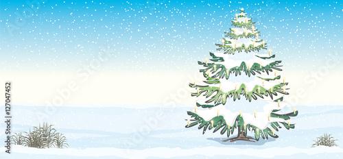 Tannenbaum Mit Schneefall.Vektor Illustration Hintergrund Tannenbaum Christbaum Weihnachtsbaum