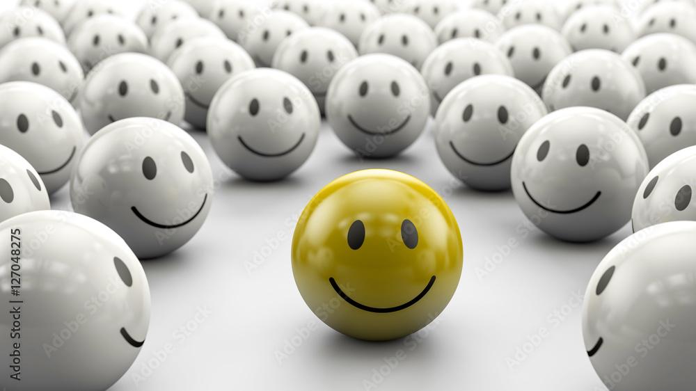 Fototapety, obrazy: gelber 3D Smiley in Gruppe: Konzept Chef, Boss, Markführer oder Twitter Follower