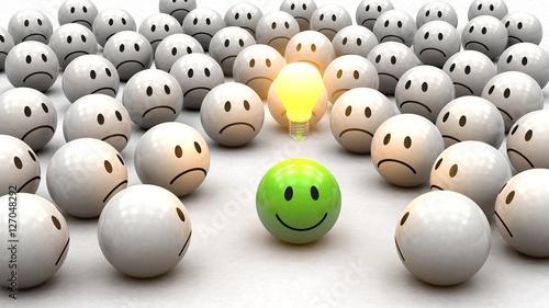 Obraz na plátne Konzept Kreativität: grüner 3D Smiley mit Glühbirne - neidische Smiley drumherum