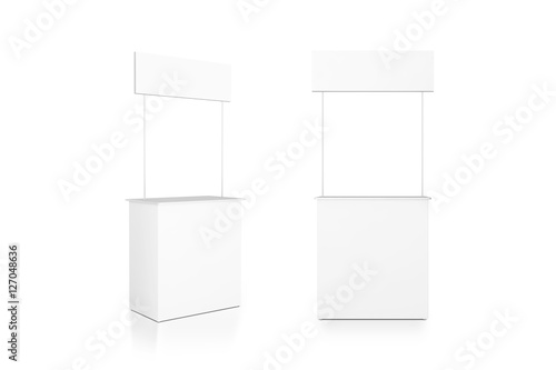 Fotografía  Blank white promo counter mockup stand, front and side view, clipping path, 3d rendering