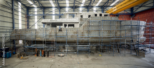 Fotografie, Obraz View from making of a yacht in a shipyard