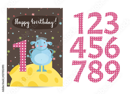 Happy Birthday Cartoon Greeting Card Template With Digits Set On Space Theme Funny Moustached Alien