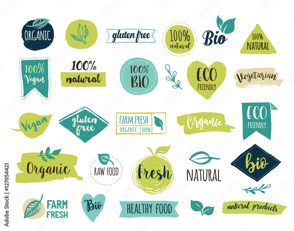 Fototapeta Bio, Ecology, Organic logos and icons, labels, tags. Hand drawn bio healthy food badges, set of raw, vegan, healthy food signs, organic and elements set