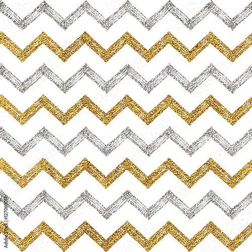 Seamless Pattern Of Silver Gold Zigzag Chevron Background Zig Zag Stripe Hand