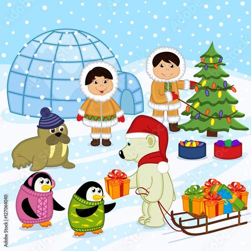 polar bear in the hat of Santa gives gifts - vector illustration, eps Wallpaper Mural