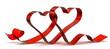 canvas print picture - Schleife Geschenkband zwei Herzen, sehr verliebt, Hochtzeitstag