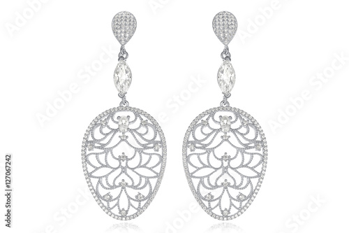 Photo  Silver earrings on white background