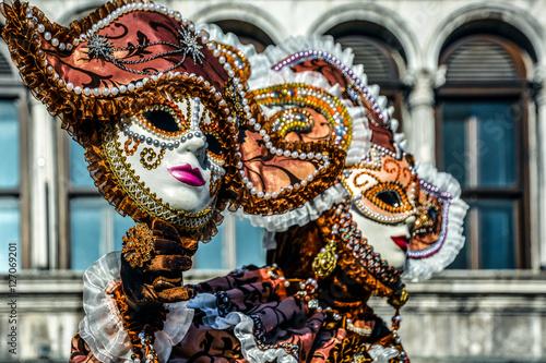 Maschera veneziana al Carnevale di Venezia Canvas Print