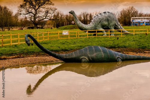 Fotografering  dinosaur park with models