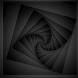 Optical illusion in the form of a rounded screw-down monochrome of the square fractal extending into the distance.