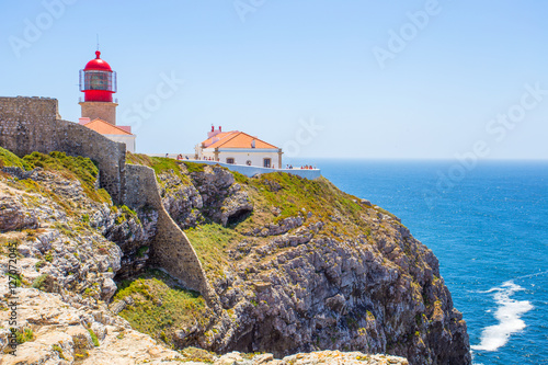 Montage in der Fensternische Leuchtturm View of the lighthouse at Cabo de Sao Vicente, Algarve, Portugal, /Sea landscape/ Atlantic ocean