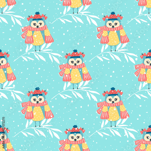 Stickers pour portes Hibou Beautiful seamless wallpaper with owls