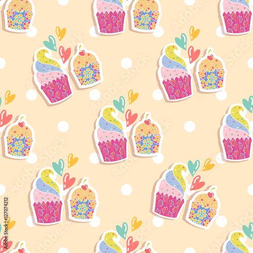 Stickers pour portes Hibou Seamless pattern with cakes on a beige background