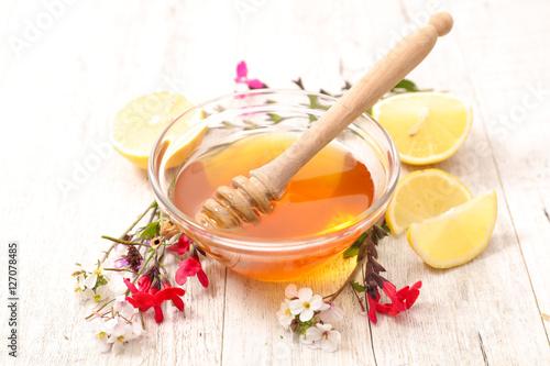honey with flower and lemon Wallpaper Mural