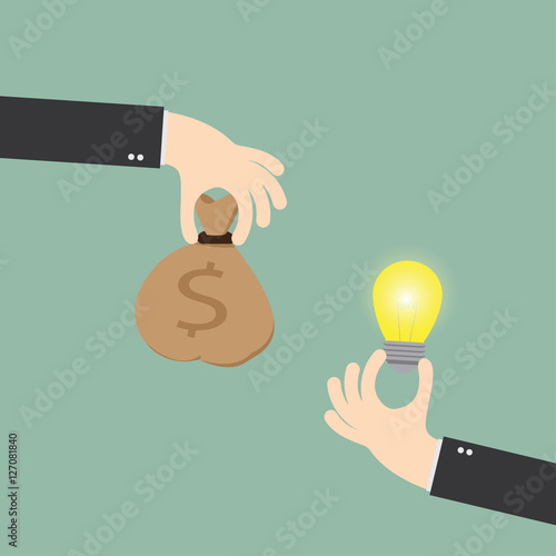 hand of businessman to change the bulb idea to money,flat design, vector eps10 Wallpaper Mural
