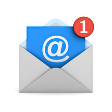 E Mail Notification One New Email Message In The Inbox Concept Isolated On White Background With Shadow 3D Rendering