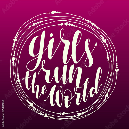 Photo  girls run the world quote in round frame