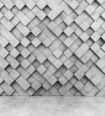 FototapetaWall of concrete cubes and concrete floor. 3D rendering