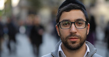 Jewish Caucasian Man In City Smile Face Portrait