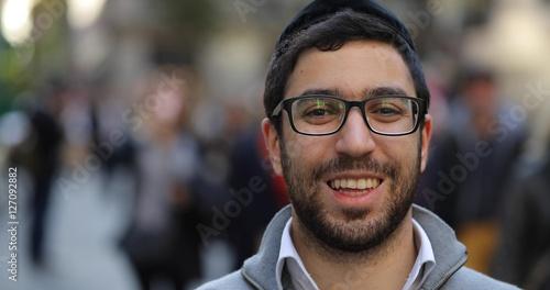 Fototapeta Jewish caucasian man in city smile face portrait obraz